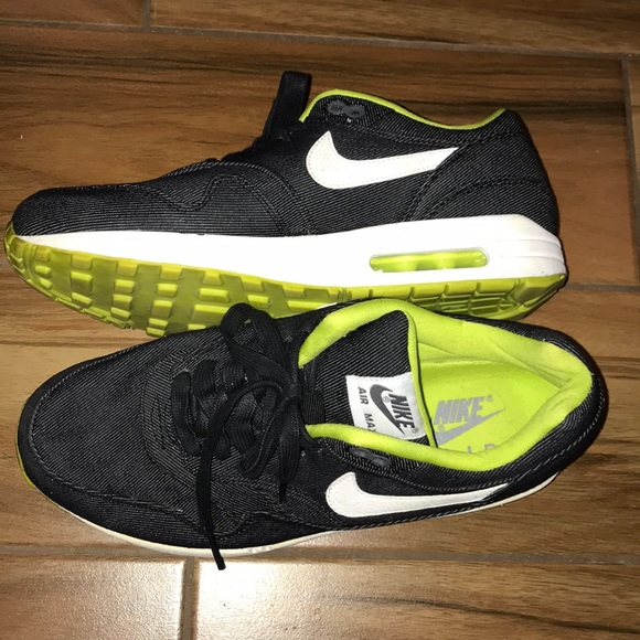 Barely Worn Nike Air Max 1 Black Denim Men's 9